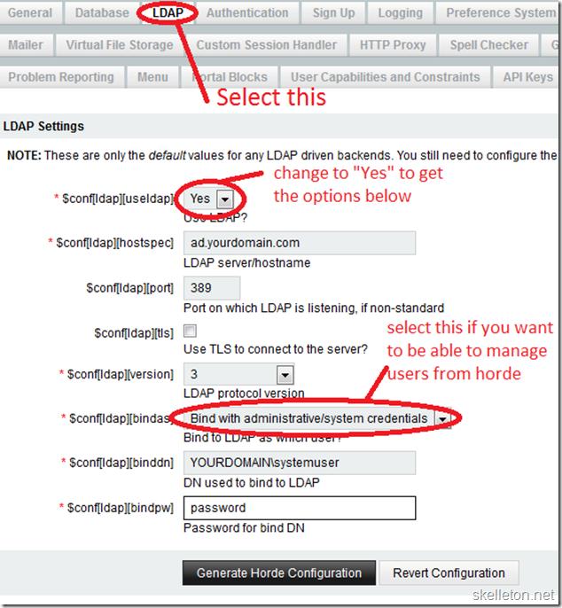 Horde5 LDAP backend configuration
