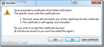 Mumble certificate error