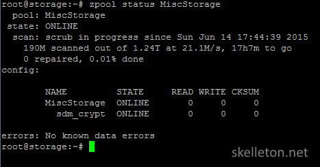output of the zpool status command while a scrub is running